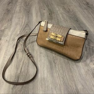 Guess Nude Brown Handbag Purse with Leather Strap